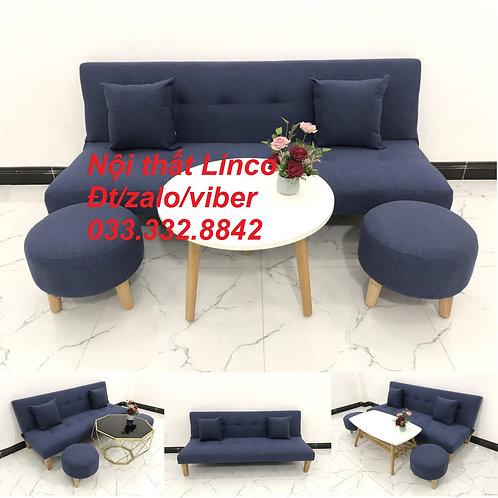 Bộ ghế sofa giường sofa bed xanh dương đậm đen giá rẻ đẹp nhỏ Nội thất Linco HCM