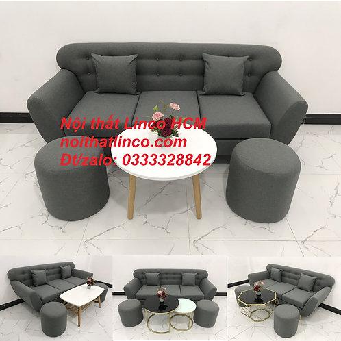 Sofa băng | Sofa băng màu xám lông chuột đậm đen | Sofa văng dài 1m9 | Linco HCM