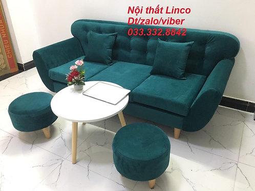 Bộ bàn ghế Sofa băng văng dài giá rẻ SFBg11 màu xanh cổ vịt vải nhung Linco HCM
