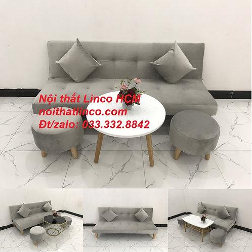Bộ ghế sofa giường xám trắng vải nhung giá rẻ Nội thất Linco HCM