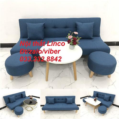Bộ bàn ghế sofa bed sofa giường xanh dương da trời vải bố rẻ Nội thất Linco HCM