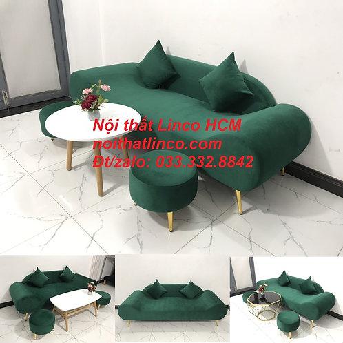 Bộ ghế sô pha sofa băng văng thuyền 2m xanh rêu lá cây giá rẻ Nội thất Linco HCM