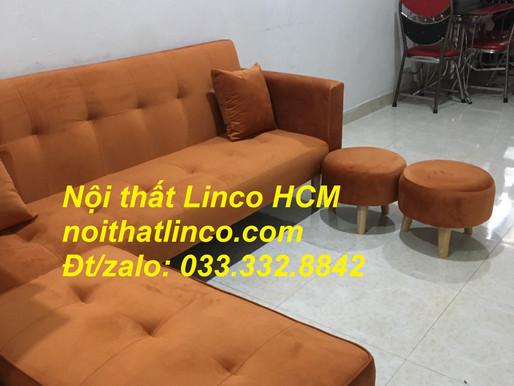 Combo ghế sofa bật giường nằm màu cam vải nhung, sofa băng giá rẻ | Nội thất Linco Tphcm Bình Dương