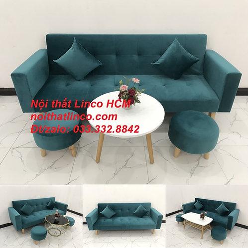 Bộ bàn ghế sofa băng giường đa năng xanh lá cây cổ vịt đẹp Nội thất Linco Tphcm