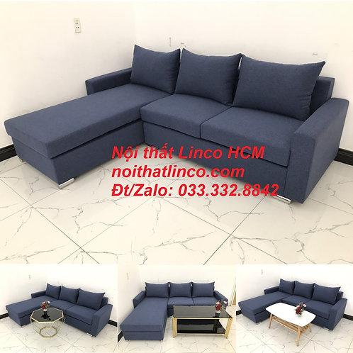 Bộ ghế sofa góc chữ L giá rẻ xanh dương nước biển đen đậm | Nội thất Linco Tphcm