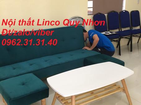 Bộ ghế sofa giường, sofa bed Nội thất Linco tại gần cầu Bà Di, Tuy Phước, màu xanh lá vải nhung