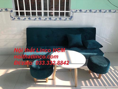 Sofa bed giá rẻ | Ghế sofa giường GTT05 xanh cổ vịt vải | Nội thất Linco Sài Gòn