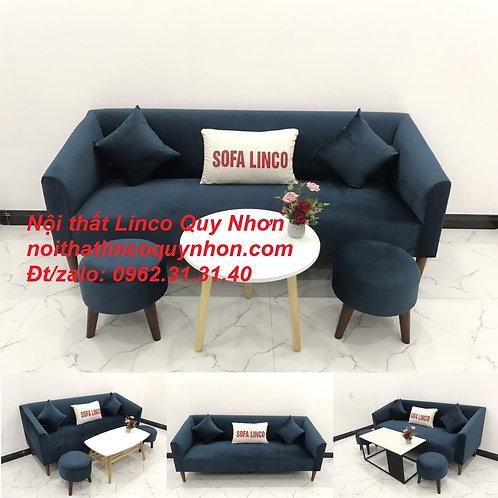 Bộ bàn ghế sofa băng văng dài xanh dương đậm vải nhung | Nội thất Linco Quy Nhơn