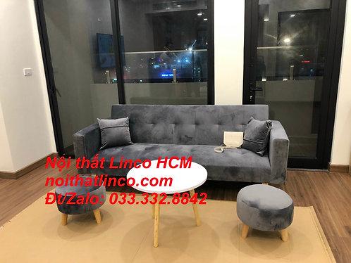 Bộ ghế sofa băng đa năng giường nằm xám nhung đậm đen | Nội thất Linco HCM Tphcm
