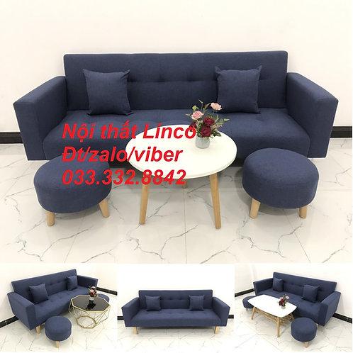 Bộ ghế sofa giường sofa bed (băng) màu xanh dương đậm đen rẻ Nội thất Linco HCM