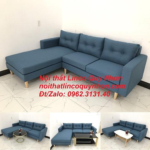 Bộ ghế sofa góc L nhỏ 2m2 xanh dương nước biển Nội thất Linco Quy Nhơn Bình Định