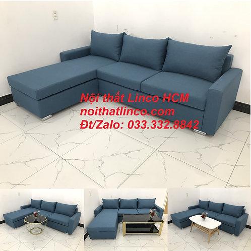 Bộ ghế sofa góc L xanh dương nước biển phòng khách giá rẻ | Nội thất Linco Tphcm