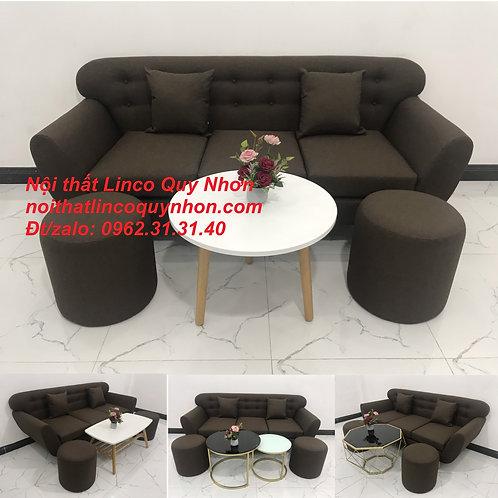 Sofa băng | Bộ ghế sofa băng màu nâu cafe đậm đen rẻ | Nội thất Linco Quy Nhơn