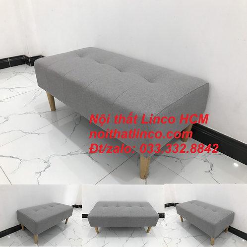 Ghế đôn sofa xám ghi trắng vải nhỏ gọn giá rẻ Nội thất Linco HCM