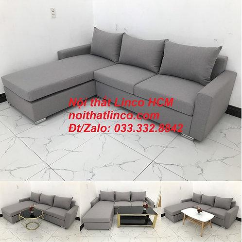 Sofa góc Tphcm | Bộ ghế sofa góc L xám trắng giá rẻ | Nội thất Linco HCM Sài Gòn
