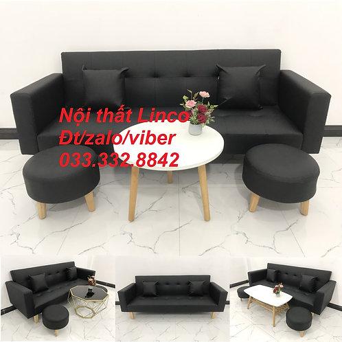 Bộ bàn ghế sofa bed sofa giường (băng) simili giả da đen giá rẻ đẹp | Sofa Linco