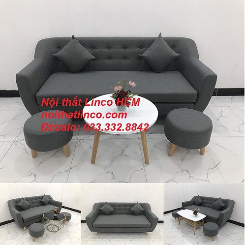 Bộ bàn ghế sofa băng phòng khách xám đen đậm Nội thất Linco Tphcm