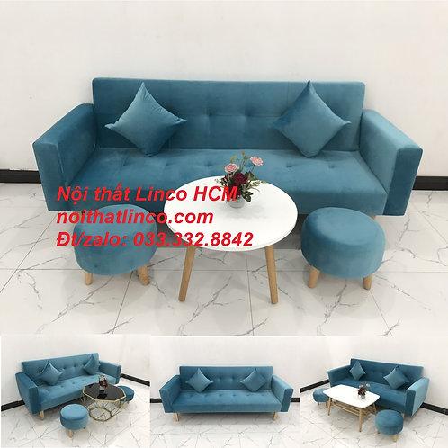 Bộ bàn ghế sofa băng nằm vải nhung xanh dương dài 2m giá rẻ Nội thất Linco Tphcm