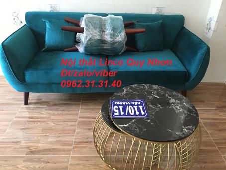 Bộ sofa băng nệm mút lò xo xanh nhung cổ vịt Nội thất Linco tại Cần Vương, Quy Nhơn, Bình Định