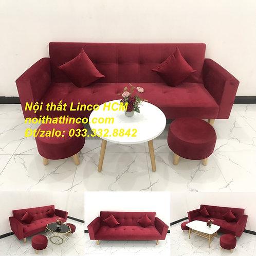 Bộ ghế sofa băng giường nằm đa năng thông minh đỏ đô Nội thất Linco Tphcm