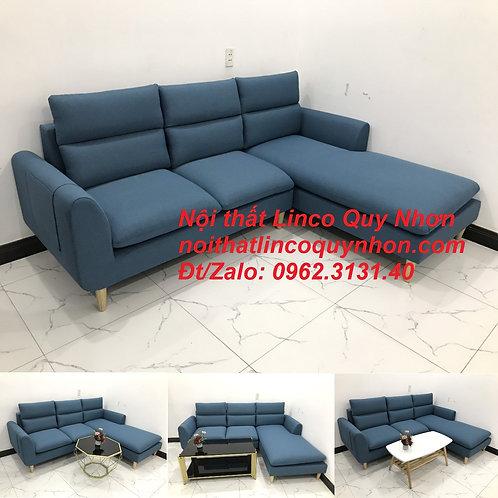 Bộ ghế sofa góc L hiện đại xanh dương nước biển giá rẻ | Nội thất Linco Quy Nhơn