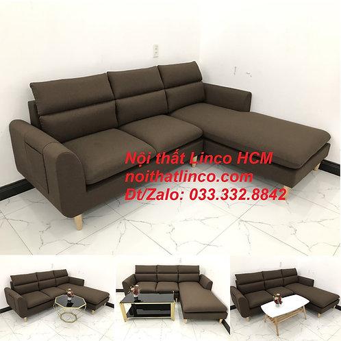 Bộ ghế sofa góc L màu nâu cafe đậm đen dài 2m2 giá rẻ | Nội thất Linco Tphcm HCM