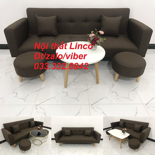 Bộ ghế sofa bed sofa giường (băng) màu nâu cafe đậm đen rẻ | Nội thất Linco HCM