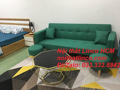 Bộ ghế sofa băng đa năng xanh ngọc lá cây phòng khách giá rẻ Nội thất Linco HCM