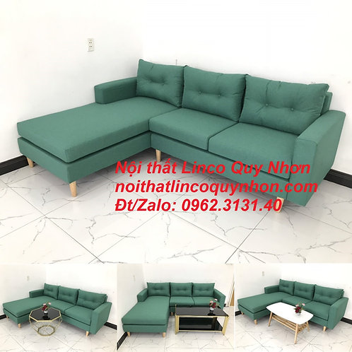 Bộ ghế sofa góc phòng khách màu xanh lá cây ngọc đẹp   Nội thất Linco Quy Nhơn