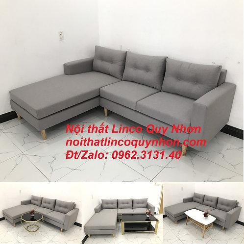 Bộ bàn ghế sofa góc L xám ghi trắng đẹp giá rẻ mini   Nội thất Linco Quy Nhơn