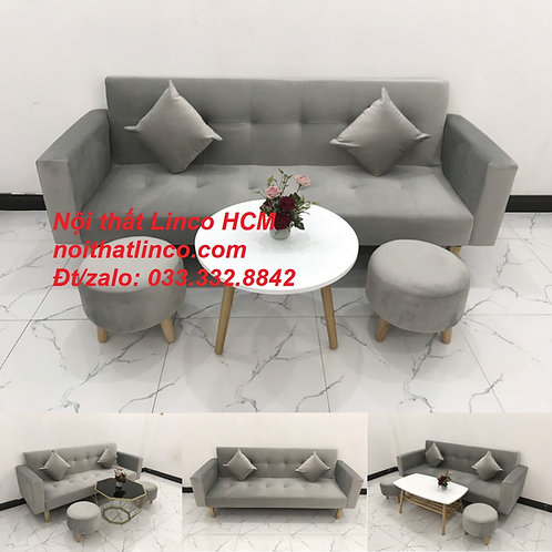 Bộ ghế sofa băng thông minh bật giường nằm xám ghi trắng Nội thất Linco Tphcm
