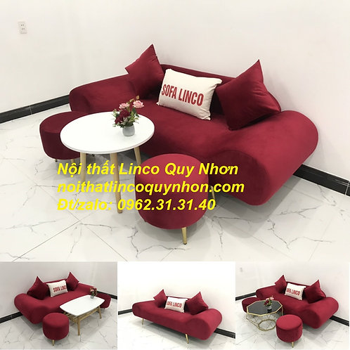 Bộ bàn ghế Sofa thuyền băng văng đỏ đô đẹp rẻ Nội thất Linco Quy Nhơn Bình Định