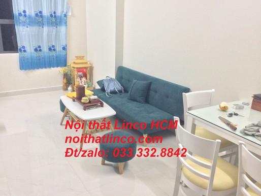 Ghế sofa giường giá rẻ, sofa bed mini màu xanh rêu 1m7 vải bố nỉ | Nội thất Linco Tphcm Thủ Dầu Một