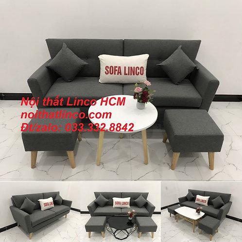 Bộ bàn ghế Sofa băng văng dài xám đậm đen lông chuột giá rẻ Nội thất Linco Tphcm