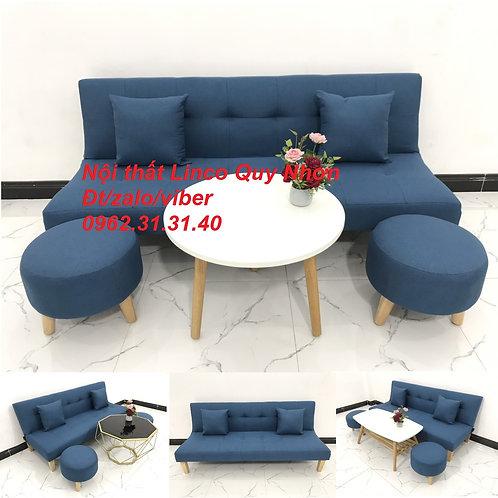 Bộ bàn ghế sofa giường sofa bed SFG02 xanh dương giá rẻ Nội thất Linco Quy Nhơn