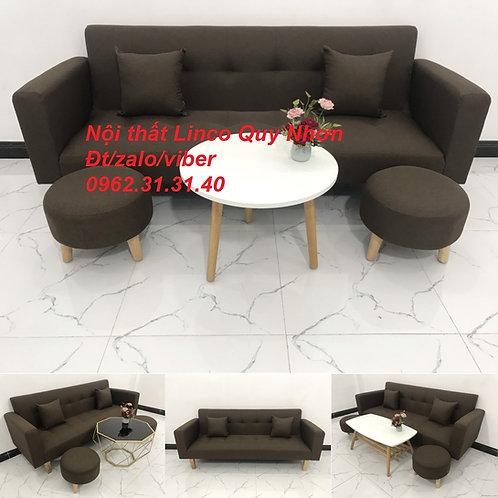 Bộ bàn ghế sofa giường tay vịn băng nâu cafe đậm đen rẻ Nội thất Lino Quy Nhơn