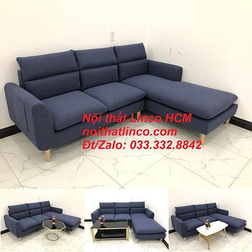 Bộ ghế sofa góc L phòng khách đẹp xanh dương đen bọc vải | Nội thất Linco Tphcm