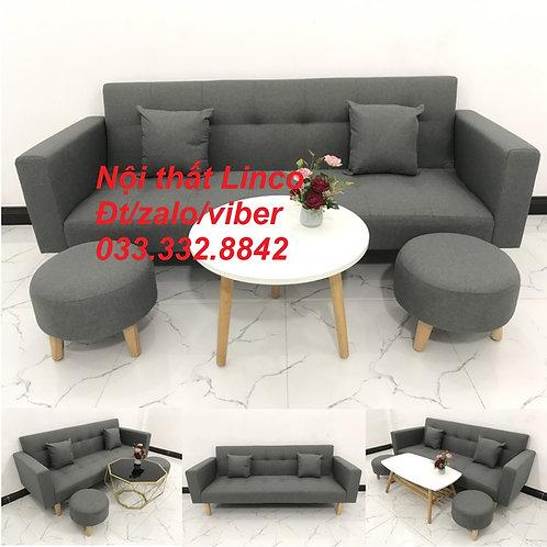 Bộ bàn ghế sofa bed giường, sofa băng văng xám lông chuột đậm Nội thất Linco HCM