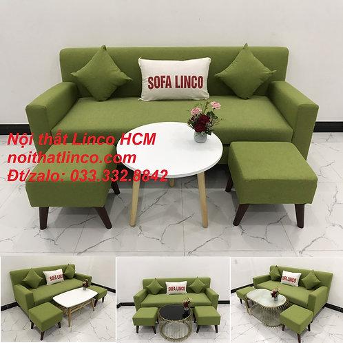 Bộ bàn ghế sopha sofa băng văng xanh lá giá rẻ vải đẹp nhỏ Nội thất Linco Tphcm