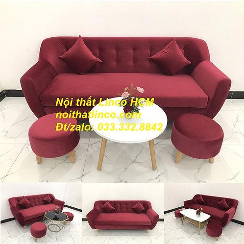 Ghế sofa băng màu đỏ đô vải nhung sang trọng Nội thất Linco Tphcm