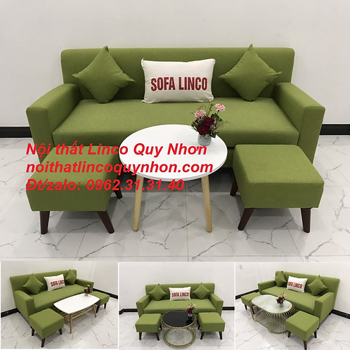 Bộ bàn ghế sopha SFB05 sofa băng văng xanh lá giá rẻ vải đẹp nhỏ Nội thất Linco