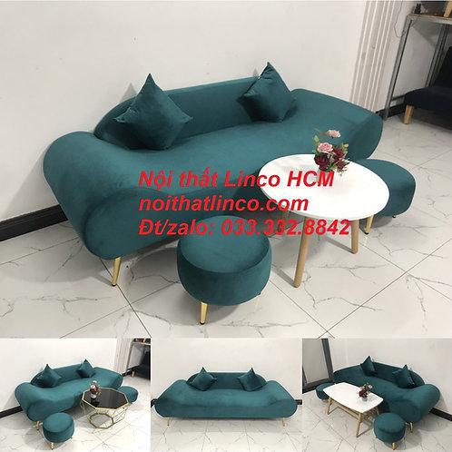 Bộ ghế sopha sofa băng văng thuyền dài 2m màu xanh lá cây cổ vịt vải đẹp giá rẻ