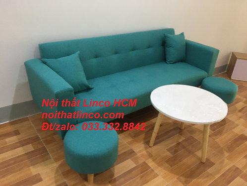 Bộ ghế sofa phòng khách | Sofa giường băng GTT11 đa năng xanh ngọc Bàn ghế Linco
