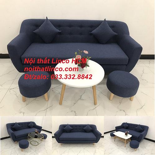 Bộ ghế sofa băng giá rẻ dài 1m9 nhỏ gọn bọc vải màu xanh dương Tphcm