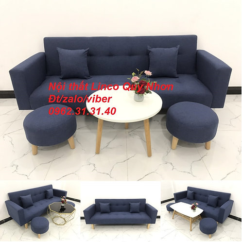 Bộ ghế Sofa giường băng văng xanh dương đậm đen giá rẻ Nội thất Linco Quy Nhơn