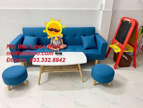 Bộ sofa giường tay vịn (sofa băng) dài 2m xanh dương vải bố Nội thất Linco HCM