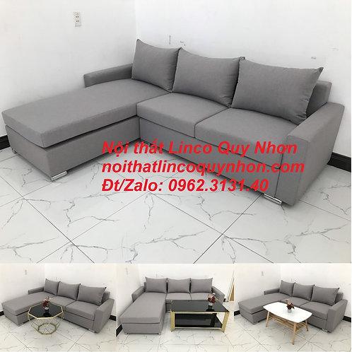 Bộ ghế sofa chữ L màu xám ghi trắng bọc vải | Nội thất Linco Quy Nhơn Bình Định