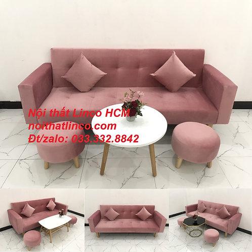 Bộ ghế sofa băng giường dài 2m đa năng hồng phấn Nội thất Linco Tphcm