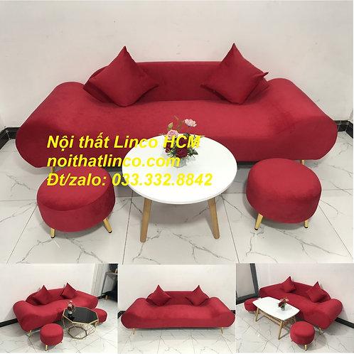 Bộ ghế sofa băng văng thuyền dài màu đỏ vải nhung đẹp giá rẻ Nội thất Linco HCM