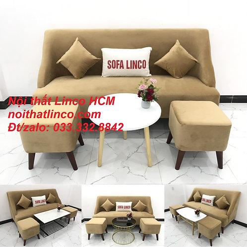 Bộ bàn ghế Sofa salong băng văng dài màu nâu sữa giá rẻ Nội thất Linco Tphcm Sg